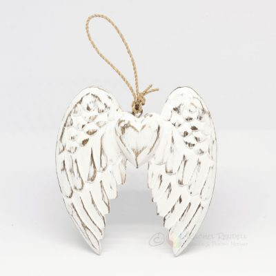 Handcrafted Wooden Double Angel Wings 15cm