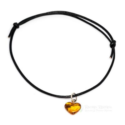 Amber Heart Leather Bracelet.