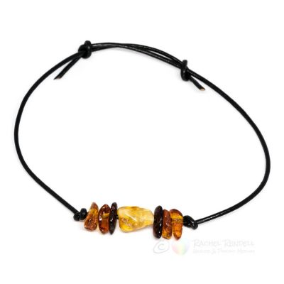 Amber Chips Leather Bracelet.