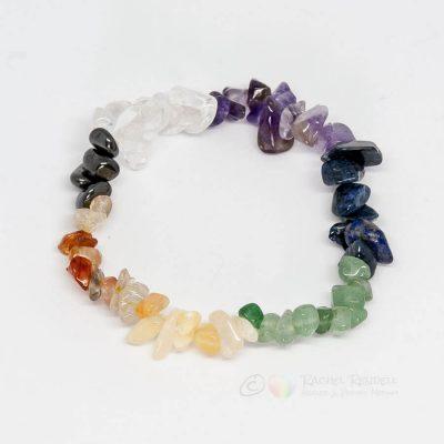 Chakra crystal chip bracelets.