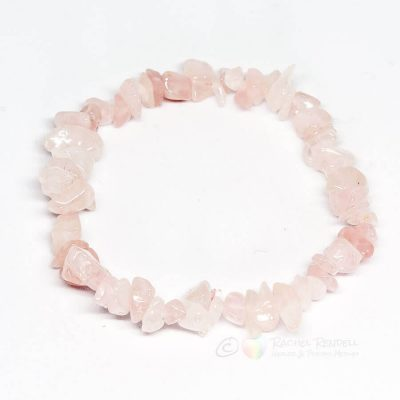 Rose quartz chip bracelet.